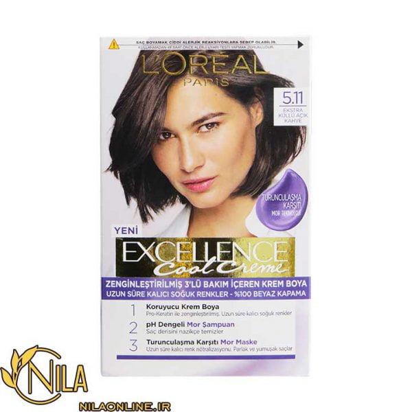 رنگ مو قهوه ای دودی روشن 5.11 اکسلنس کول کرم لورآل Excellence L'Oreal