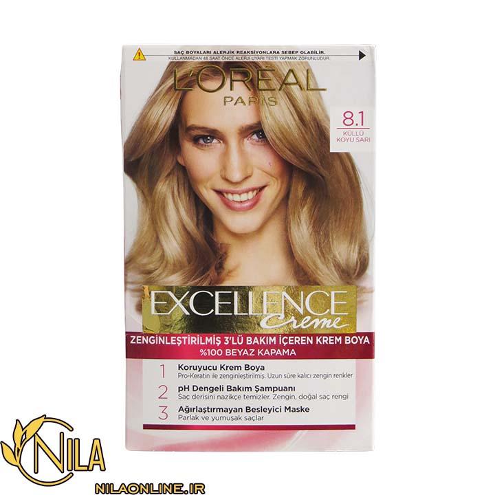 رنگ مو کرمی بلوند خاکستری روشن 8.1 اکسلنس لورآل Excellence L'Oreal