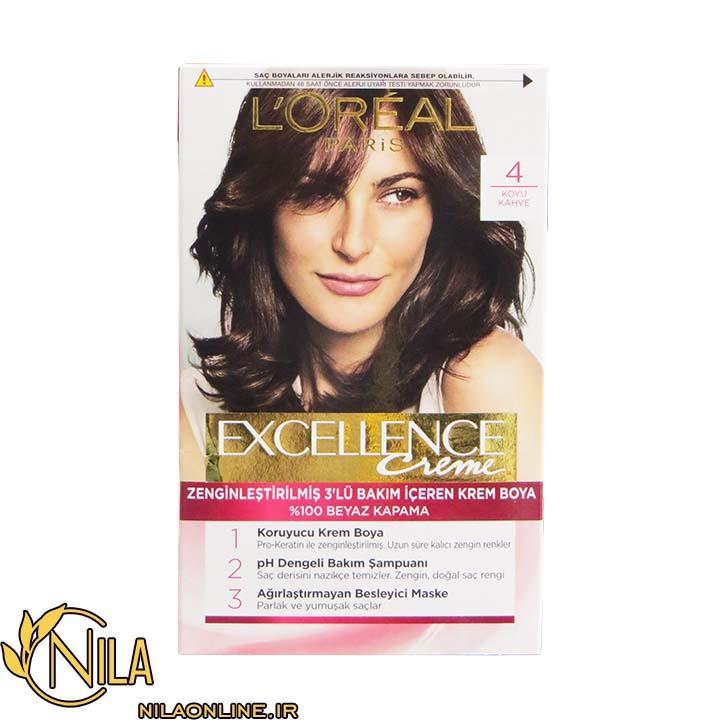 رنگ مو کرمی قهوه ای تیره 4 اکسلنس لورآل Excellence L'Oreal