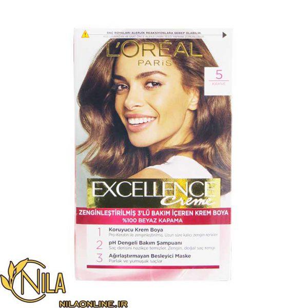 رنگ مو کرمی قهوه ای 5 اکسلنس لورآل Excellence L'Oreal